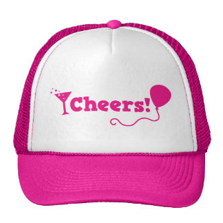 Cheers! with party Balloon and cocktail glass Trucker Hat