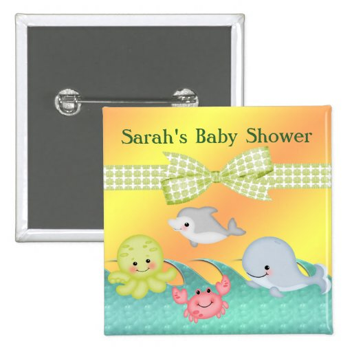 Cheery Baby Sea Creatures Baby Shower Buttons