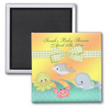 Cheery Baby Sea Creatures Baby Shower Square Magnet
