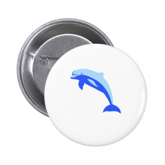 Cheery Blue Jumping Dolphin Cartoon Pinback Buttons