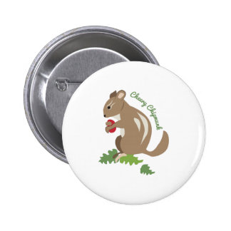Cheery Chipmunk Pinback Buttons