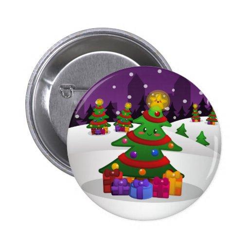 Cheery Christmas Tree Button