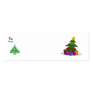 Cheery Christmas Tree Tags Double-Sided Mini Business Cards (Pack Of 20)