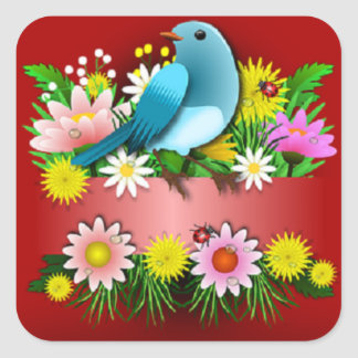 Cheery Colorful Bird and Flowers Square Stickers