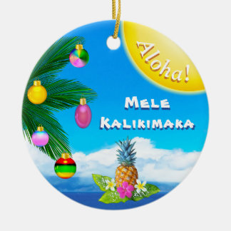 Cheery Mele Kalikimaka Ornaments, 2 Sided Ceramic Ornament