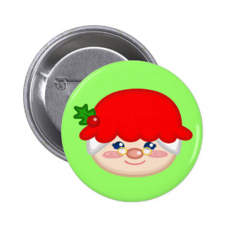 Cheery Mrs Claus Button