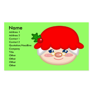 Cheery Mrs. Claus Profile Card Double-Sided Standard Business Cards (Pack Of 100)