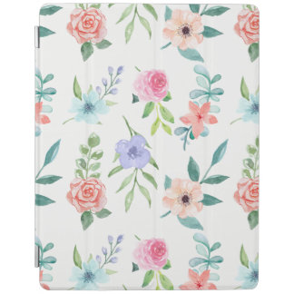 Cheery Pastel Watercolor Style Floral iPad Cover