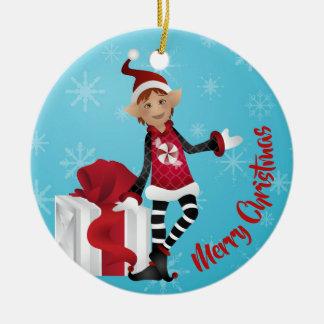Cheery Red Christmas ELVES! Ceramic Ornament