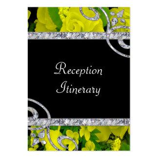 Cheery Yellow Roses & Diamond Swirls Wedding Large Business Card