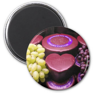 Cheese and grapes 2 inch round magnet