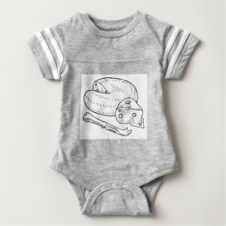 Cheese and Knife Vintage Retro Etching Style Baby Bodysuit