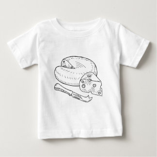 Cheese and Knife Vintage Retro Etching Style Baby T-Shirt