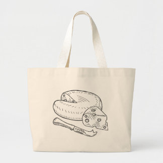 Cheese and Knife Vintage Retro Etching Style Large Tote Bag