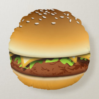 Cheese Burger In A Bun Novelty Round Pillow