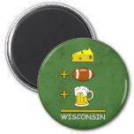 Cheese Football Beer Wisconsin 2 Inch Round Magnet