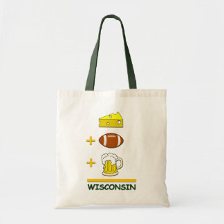 Cheese Football Beer Wisconsin Funny Equation Tote Bag