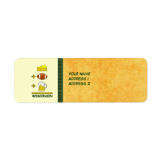 Cheese Football Beer Wisconsin Funny Return Address Label