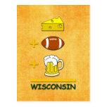 Cheese Football Beer Wisconsin Postcard