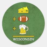Cheese Football Beer Wisconsin Round Sticker