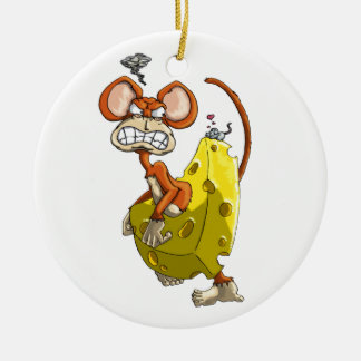 Cheese Monkey Ceramic Ornament