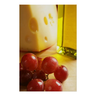 Cheese, Olive Oil & Grapes Poster Prints