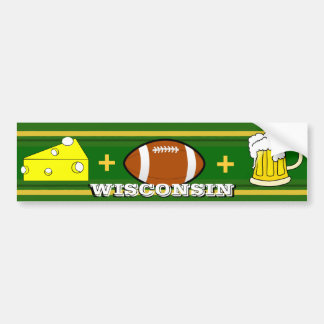 Cheese plus Football plus Beer Bumper Sticker