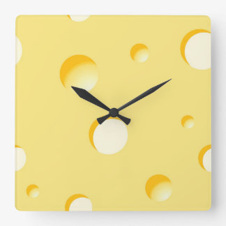 Cheese slice illustration square wall clock