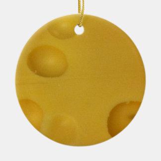 Cheese texture round ceramic ornament