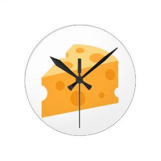 Cheese Wedge Emoji Round Clock
