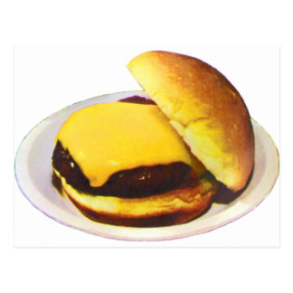Cheeseburger 1955 postcard