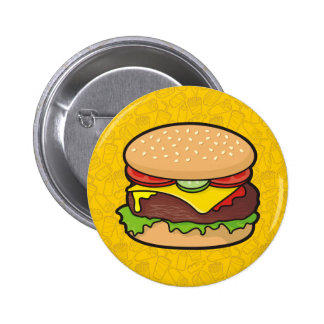 Cartoon Hamburger Buttons, Cartoon Hamburger Pinback Button Designs