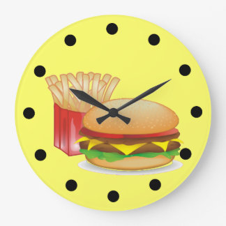 Cheeseburger and Fires Large Clock