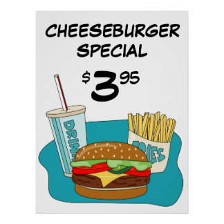 Cheeseburger and Fries Poster