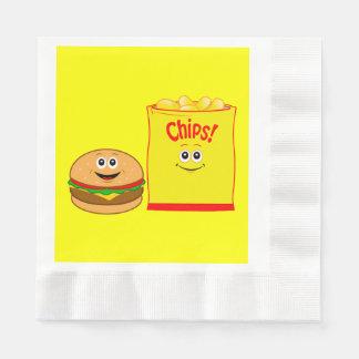 Cheeseburger and Potato Chips Birthday Disposable Napkin