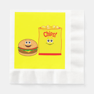 Cheeseburger and Potato Chips Birthday Napkin