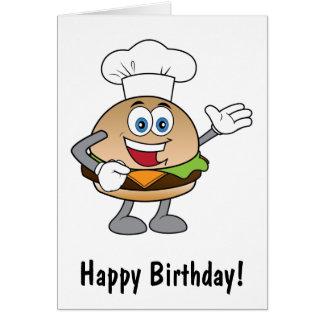 Cheeseburger Cartoon Happy Birthday Card