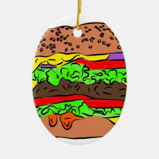 Cheeseburger Ceramic Ornament