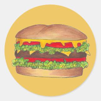 Cheeseburger Cheese Burger Hamburger Fast Food Bun Classic Round Sticker