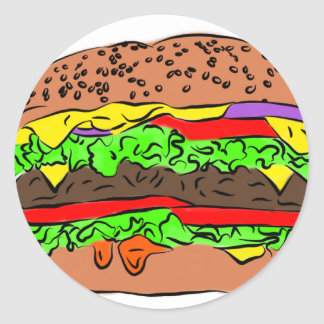 Cheeseburger Classic Round Sticker