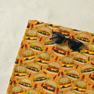 Cheeseburger Deluxe Beach Towel