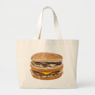 Cheeseburger double fast food large tote bag
