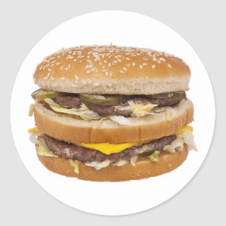 Cheeseburger double fast food round sticker