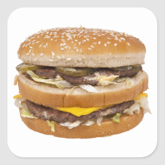 Cheeseburger double fast food square sticker