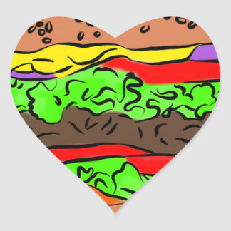 Cheeseburger Heart Sticker