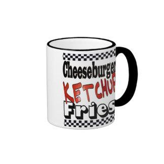 Cheeseburger Ketchup Fries Ringer Coffee Mug