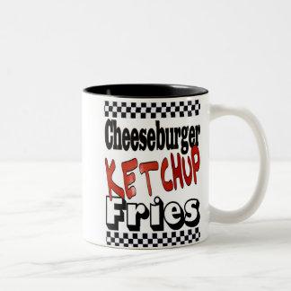 Cheeseburger Ketchup Fries Two-Tone Coffee Mug