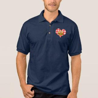 Cheeseburger on Heart in Plaid Polo Shirt