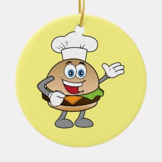 Cheeseburger Round Ceramic Ornament