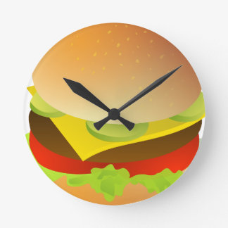 cheeseburger round clock